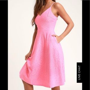 Lulus midi lace pink dress with pockets